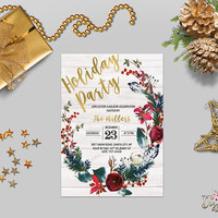 Holiday Party Invitation Printable Christmas Party Invitation Rustic Holiday Invite Fir Wreath Gold Foil Winter invites / Digital or Printed