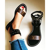 Louis Vuitton Women Fashion Casual Heels Shoes Sandals