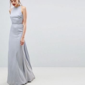 Jarlo Tall Open Back Maxi Dress With Train Detail at asos.com