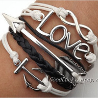 Unisex  simple fashion silver 8 infinity wish,LOVE, anchor and arrow bracelet--black,white wax rope and black braided leather bracelet