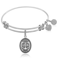 Expandable Bangle in White Tone Brass with U.S. Navy Proud Mom Symbol