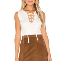 1. STATE Sleeveless Lace Up Sweater in Chalk | REVOLVE