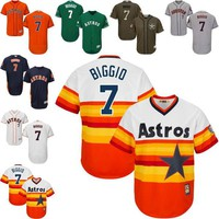 White blue orange Throwback Craig Biggio Jersey , Men's #7 Mitchell And Ness MLB Houst