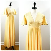 Vintage 70s Maxi Dress, Yellow and Black Polka Dot Empire Waist Maxi Gown, Flutter Sleeve Summer Dress Size S 5 Juniors