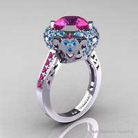 Modern Edwardian 14K White Gold 3.0 Carat Pink Sapphire Blue Topaz Engagement Ring, Wedding Ring Y404-14KWGBTPS