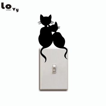 Cats Couple Switch Sticker Wall Decal For Kids Room
