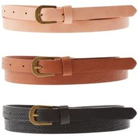 Multi Solid Skinny Belts - 3 Pack by Charlotte Russe