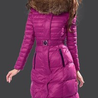 Moncler Fur Hooded Long Down Coat Womens Luxury Outerwear 8815