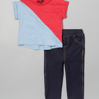 7 For All Mankind Pink & Blue Color Block Tee & Jeans - Infant | zulily