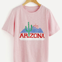 Pink Graphic Print Tee from Love - W/O - Disdain