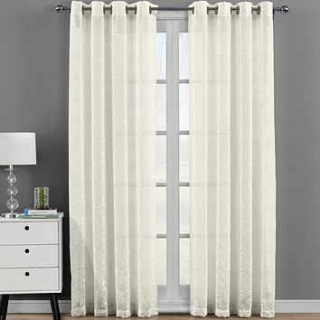 Melanie Embroidered Grommet Top Sheer Panel Curtain (Set of 2 )