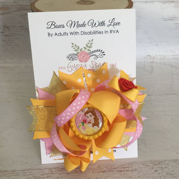 Princess Beauty and the beast Belle Hair Bow, Disney Inspired Newborn Infant Baby Bow Disney Princess Bow Birthday Bows Vacation Hair Hairbo