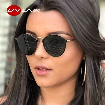 UVLAIK Round Cat Eye Sunglasses Women Luxury Brand Designer Vintage Retro Sun Glasses Ladies Goggles UV400 Shades for Women