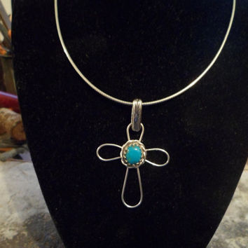 Authentic Navajo,Native American,Southwestern,turquoise, sterling silver crucifix cross necklace/pendant