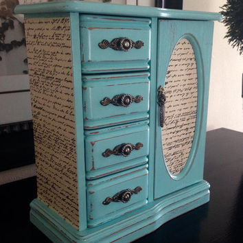Vintage Jewelry Box Upcycled Hand Painted And Decoupaged In French Script