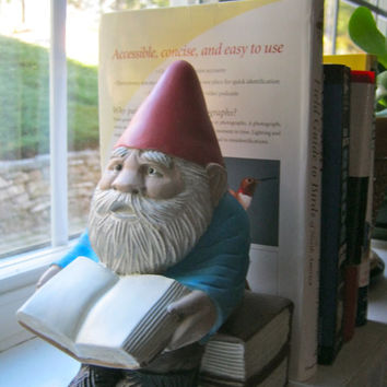 "Gnome: ""Gnewman"", Bookworm Gnome -  Painted Cement Statue"