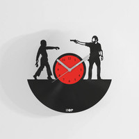 The Walking Dead TV series wall clock from upcycled vinyl record (LP) | Hand-made gift, present, home decoration for The Walking Dead fan