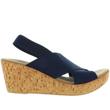 Charleston Shoe Med - Navy Elasticized Sling Platform/Wedge Rocker Sandal