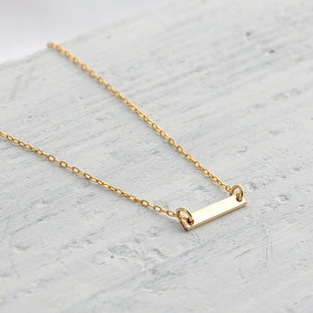 Small gold bar necklace - tiny necklace - minimalist necklace - petite necklace - dainty necklace - horizontal bar necklace - Gold Dash