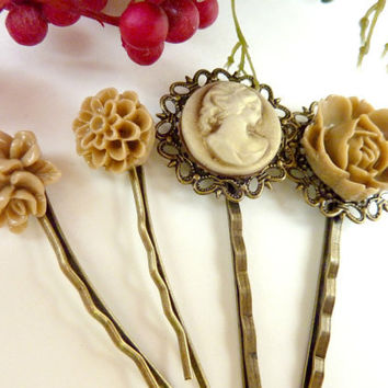 Coffee brown hair pins vintage flower bobby pins clip flowers cameo set of 4