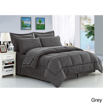 Cozy Home Down Alternative 8 Piece Embossed Comforter Set - Grey (King)
