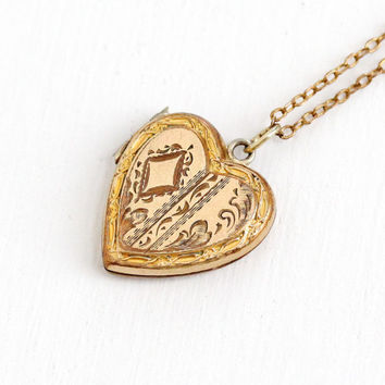Vintage 10k Gold Filled Child's Floral Heart Locket Necklace- 1940s WWII Era Sweetheart Etched Flower Jewelry Back Monogrammed DGE