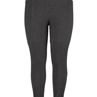 Plus Size - The Skinny Knit Pant In With Textured Fabric - Black Combo