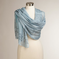 Blue Hand Block Printed Prayer Shawl - World Market