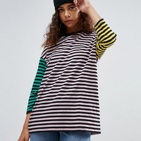 ASOS PETITE Cutabout Color Block Stripe Oversized Top at asos.com