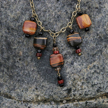 Earth Tone Necklace, Brown, Striped Jasper, Black Stone,  Red Poppy Jasper, Black Crystals, Antique Brass, Beaded Necklace
