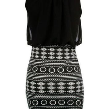 Black Printed Sleeveless Bodycon Mini Dress