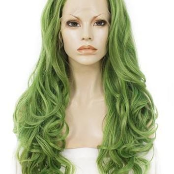 Mustard Green Wave Long Synthetic Lace Front Wig