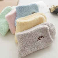Cotton Plush Embroidery Womens Cat Socks