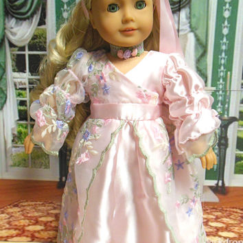 "for AMERICAN GIRL (18 inch) ""Regency Roses"" 1812 gown 1800s girl's dress  pattern by Dollhouse Designs."