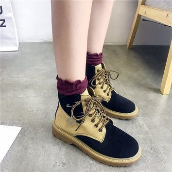Color Block Lace Up Round Toe Low Short Martin Boots