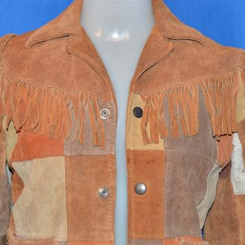 70s Patchwork and Fringe Suede Leather Jacket Men's Extra Small