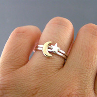 Moon And Star Rings, Custom Sterling Silver And Brass Rings, Set Of 2 rings