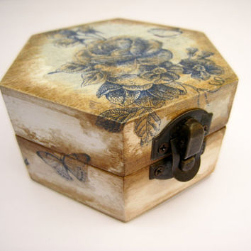 Blue Rose Jewelry Box - Cottage Chic Shabby Chic - For mom Mother in law
