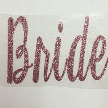 Rose Gold BRIDAL PARTY iron-on decals cursive font (Bridesmaid, Mother of the Bride, Maid of Honor, Matron, etc)
