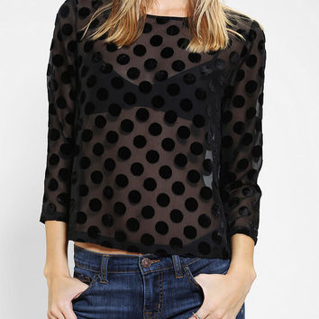 Urban Outfitters - Cooperative Burnout Polka Dot Blouse