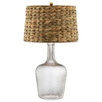 Glass Bottle Accent Table Lamp with Seagrass Shade