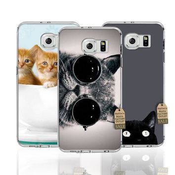 MaiYaCa cute cat face funny Transparent TPU Soft Phone Accessories Cover Case For Samsung s4 s5 s6 s6 edge s6 edge plus case