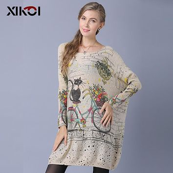 XIKOI Winter Long Oversized Cat Bicycle Print Sweater Women Casual Coat Batwing Sleeve Print Woman Sweaters Pullovers Clothing