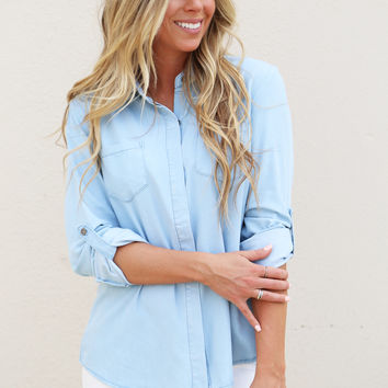 Split Back Darcie Denim Top