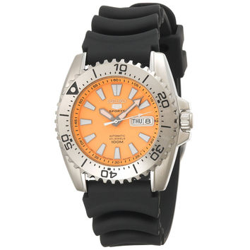 Seiko SNZG49 Men's Seiko 5 Automatic 23 Jewels Orange Dial Polyurethane Rubber Strap Sports Watch