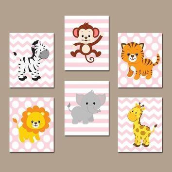 GIRL Jungle Safari Animals Wall Art, Girl Safari Jungle Animal Decor, Zoo Animal Wall Decor, Girl Playroom Decor, CANVAS or Prints, Set of 6