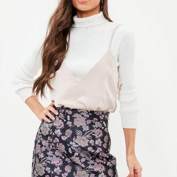Missguided - Navy A-Line Jacquard Mini Skirt