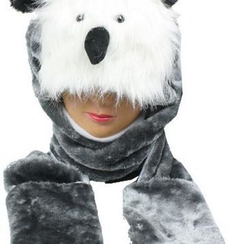 Gray Owl Animal Winter Hat with Mittens - CASE OF 12