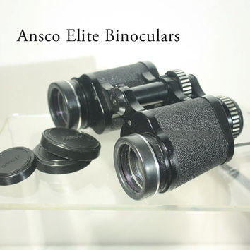 Ansco Elite Model 9115 Binoculars and Leather Case 7 x 35 Wide Angle