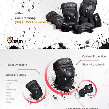 JBM BMX Bike Knee Pads and Elbow Pads with Wrist Guards Protective Gear Set for Biking, Riding, Cycling and Multi Sports Safety Protection: Scooter, Skateboard, Bicycle, inline skatings